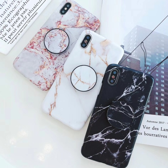 timeless design f4dca 75a83 NEW iPhone X/7/8/7+/8+ Marble Case W/pop socket Boutique